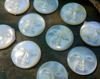 Moon Face, Cabochon, Mother of Pearl, 25mm, Eye Closed, Indonesian, Shell, Priced per Piece