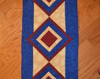 "Handmade Quilted Table Runner / Topper  Patriotic 46""x18.5"""