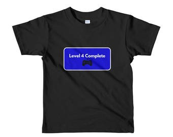 "Video Game ""Level 4 Complete"" Birthday Party Shirt. Video Game Themed Birthday Party T-Shirt. Gamer Birthday Shirt. Birthday Level Up Shirt"