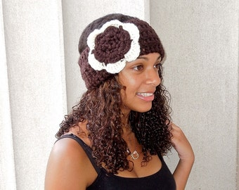 Crochet Headband, Flower Headband, Ear Warmerr, Adult, Crochet, Brown, Off White, Women,