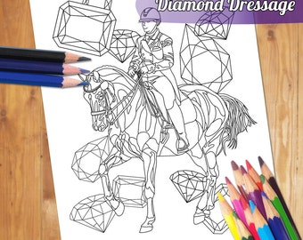 Equestrian Adult Coloring Page - Dressage Horse Coloring Book Printable Sheet