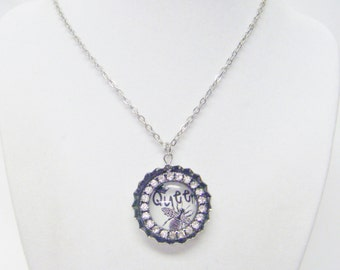 """Silver Plated Bottle Cap w/Rhinestones """"Queen"""" Necklace"""
