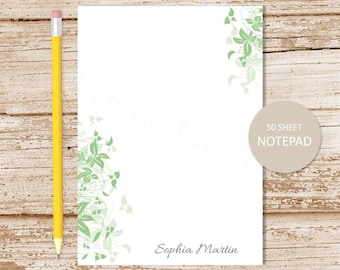 personalized notepad . leafy edge . leaves leaf . ivy notepad . personalized stationery  botanical stationary