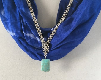 Kovadlinka's Sterling Silver Chain Necklace With Turquoise Gemstone, Chainmaille, jump rings