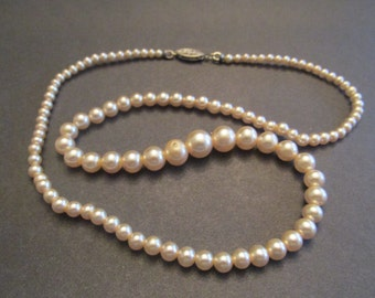 Vintage Faux Pearls With Sterling Silver Clasp