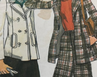 Gorgeous Double Breasted Pea Coat, A-Line Skirt and Pants Pattern---Vogue 8997---Size 14  Bust 36