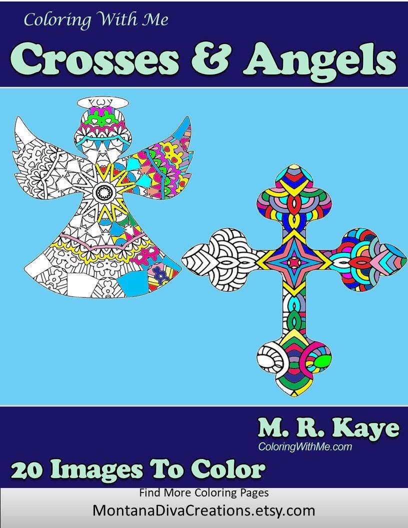 Crosses and Angles Holiday Mandala Adult Coloring Book 20