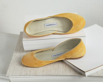 Last Pairs eu 37 & 40 | Mustard Suede Ballet Flats | Classic Model Standard Width | Ready to Ship