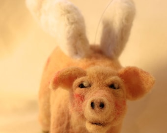 OOAK Needle Felted Flying Pig
