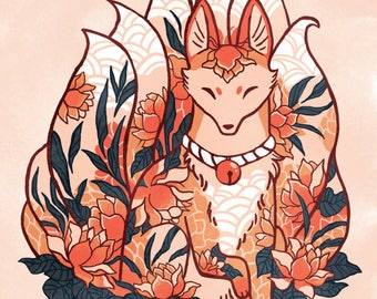 nine-tails fox kitsune spirit print, 8 by 10, 8.5 by 11 art print, illustration, watercolor, flower art