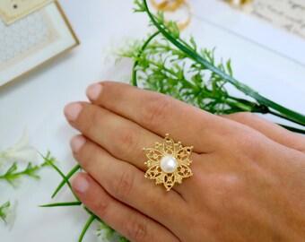 Edwardian Flower Ring, Women Gift, Gold Ring, Gold Filigree Flower Ring ,Wedding Gold Ring, Bridal Pearl Ring ,Wedding Ring , Flower Ring