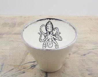 SALE Octopus White & Silver Porcelain 5oz. Small Tea Cup, Tea Bowl, Saki Cup