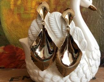 Gold Dangly Earrings Metallic Metal Vintage Earrings Big Statement Jewelry