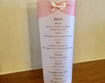 Candle menu tulle bow red white