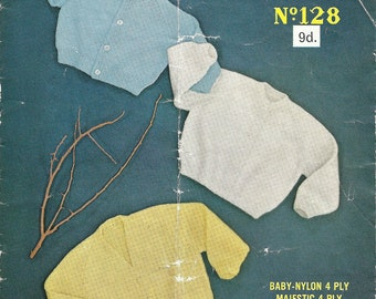 Sirdar Sunshine 128 Vintage Knitting Pattern Sweaters for Children V and Round Neck - Beginner Pattern Perfect for New Knitters