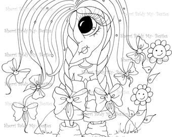INSTANT DOWNLOAD digitale Digi Stamps Big Eye Big hoofd poppen rommelig Bessy IMG854 mijn Besties door Sherri Baldy