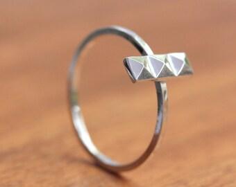 Silver Pyramid Ring - Silver Stacking Ring
