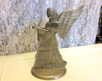 Vintage Christmas Angel Candle Holder, 1994 International Silver Co. , Silver Plate, Centerpiece, Christmas Decorations