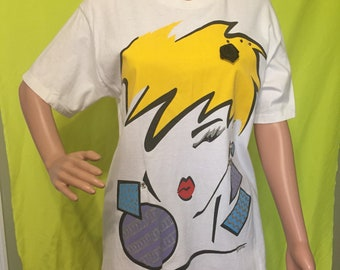 Late 80s/Early 90s Graffiti Face Embellished Tee, M