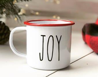 Joy Mug - Rae Dunn Inspired - Campfire Mug - Enamel Camping Mug - Vintage Style Camping Mug - Christmas Joy Mug -  12 oz Enamel Mug