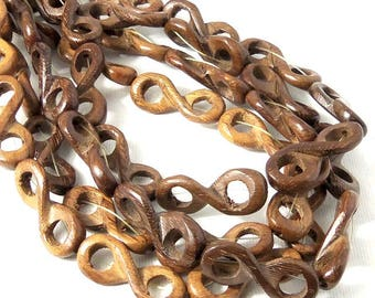Robles Wood Link Bead, Infinity Symbol, Chestnut Brown, Natural Wood Bead, 10mm x 28mm, Large, 16 Inch Strand - ID 2346