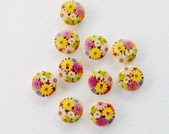 10 x 15mm floral designed buttons featuring flowers in various colours wooden buttons