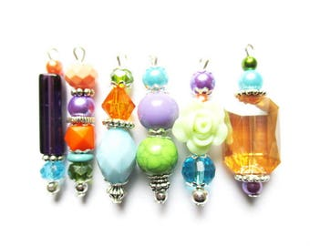 set of 6 mix colors U14 silver metal beads pendants charms
