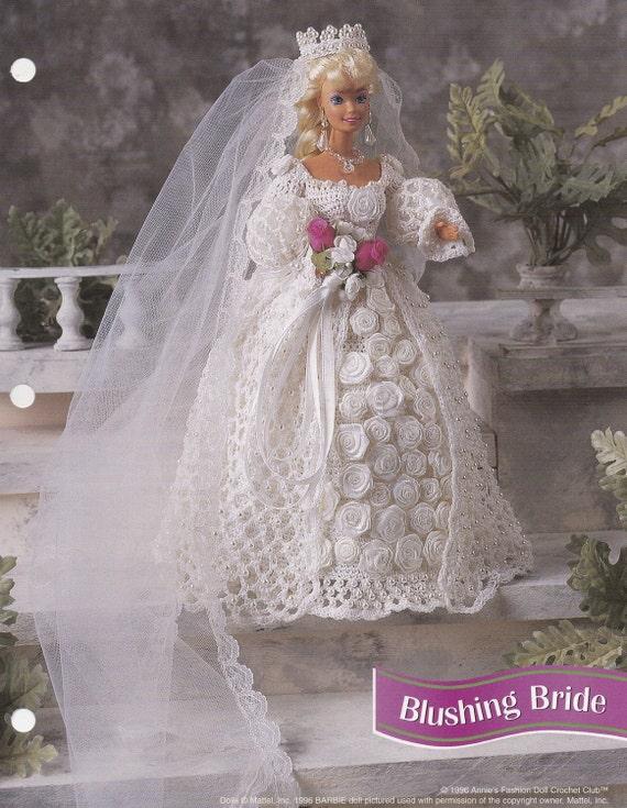 Errötende Braut Annies Attic Mode Puppe Hochzeit Kleid häkeln