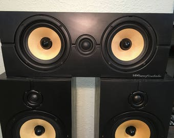 Vintage Wharfedale Diamond Centre Center Channel Speaker Two-Way Bi-Amplification Able Audiophile Hi-Fi Stereo Loudspeakers