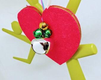 82x83mm RED Handmade heart decoration, red felt heart Christmas tree decoration, felt red heart decorations, red decorations, red loveheart