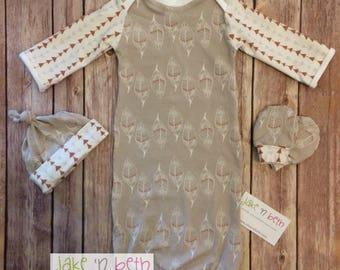 Baby gown, knot hat, and no scratch mittens, gender neutral newborn set