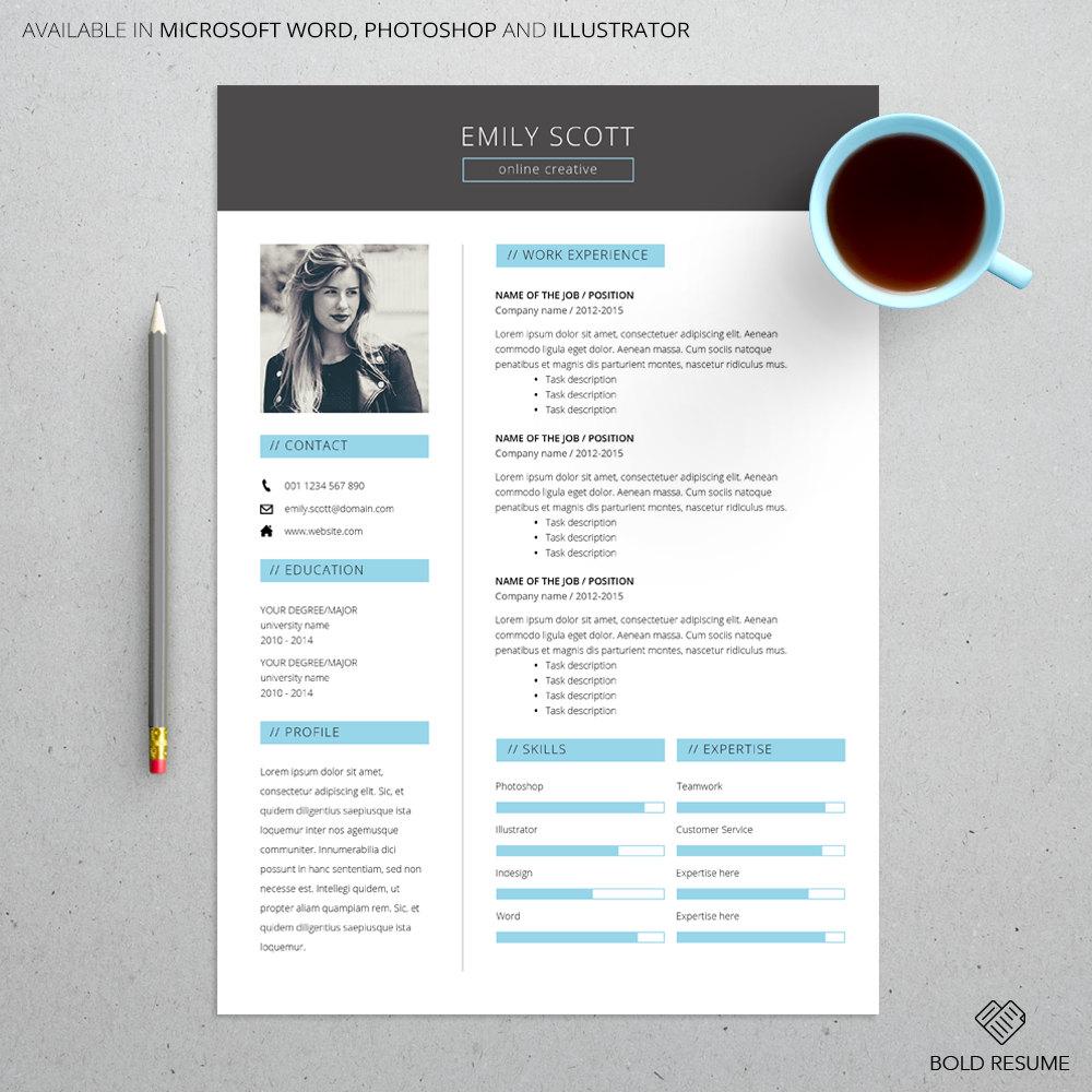 Plantilla de curriculum vitae creativa elegante para Microsoft Word ...