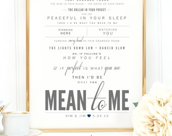 """Light Gray & Navy Blue, Brett Eldredge """"Mean To Me"""" - Valentine's, Wedding Gift, Paper Anniversary Gift, Song Lyrics, Art Print"""