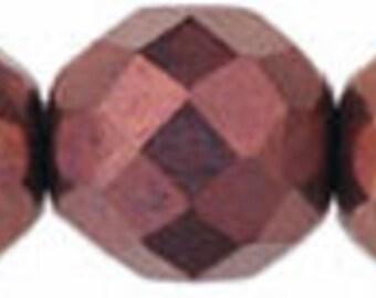 Dark Bronze Firepolish Czech Glass Beads - 12mm