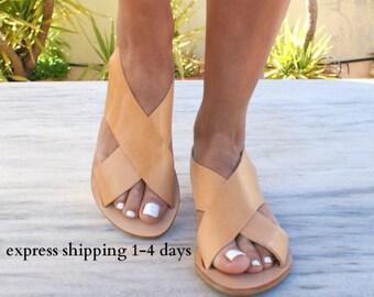 APOLLONIA sandals/ ancient Greek leather sandals/  classic leather sandals/ handmade sandals/ slingback sandals/ criss cross sandals