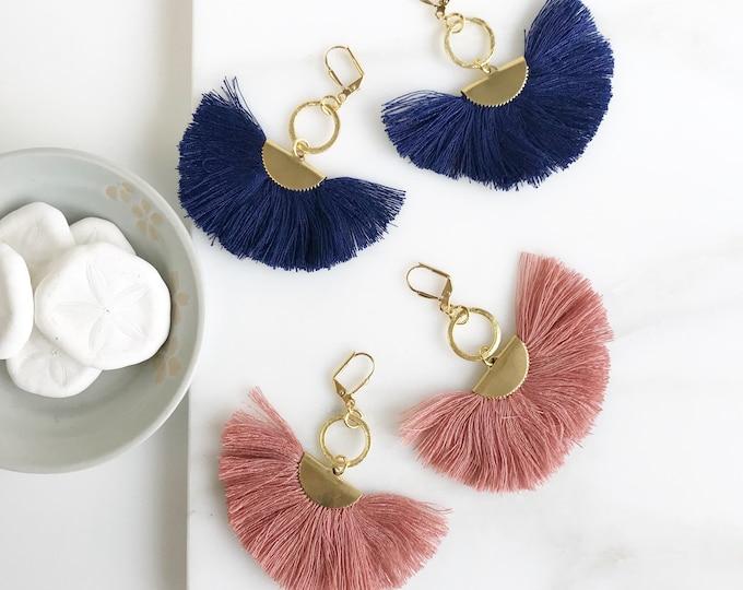 Tassel Earrings.  Chandelier Tassel Earrings. Blue and Pink Tassel Dangle Earrings.  Statement Earrings. Jewelry. Gold Fan Tassel Earrings.