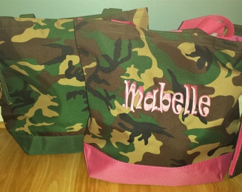 Monogrammed or Personalized Camo Tote Bag