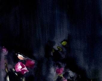 Abstract Painting - Landscape Painting - Night Garden II - Large Print 16x20 - Watercolor Painting - Wall Decor - Bird Art - Navy - Magenta
