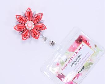 Nurse Badge Reel ID Badge Reel Flower Badge Reel Retractable ID Holder Flower Badge Holder Teacher Badge Reel Retractable Badge