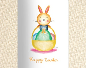 Happy Easter Printable, DIY Easter print, Easter bunny printable, Easter decor, INSTANT DOWNLOAD, diy easter card, digital prints, holidays