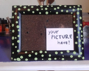 Green polka dotted picture frame