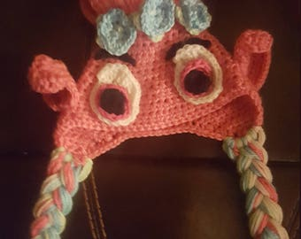 Crochet poppy hat