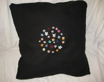 Sale - was 31 USD now 20 USD - Embroidered pillow cover - set of circle blooming flowers