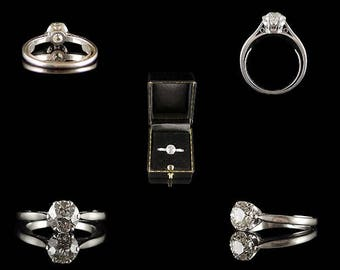 Vintage Platinum 1.28ct Diamond Engagement Ring