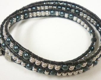 Handmade Jewelry:  Tahitian Triple Wrap Leather with Pearls 35942S