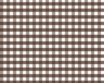 SALE Brown - Medium Gingham- by Riley Blake - 1/2 Yard