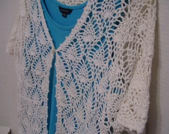 Summer White Crocheted Top//Cardigan//Jacket Cruise Resort Beach Wear