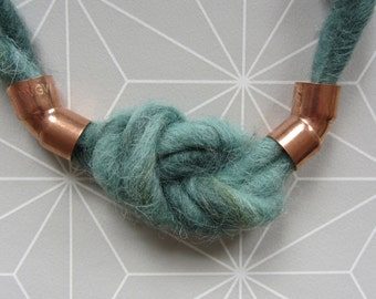 Felted necklace with copper elements and figure of eight knot