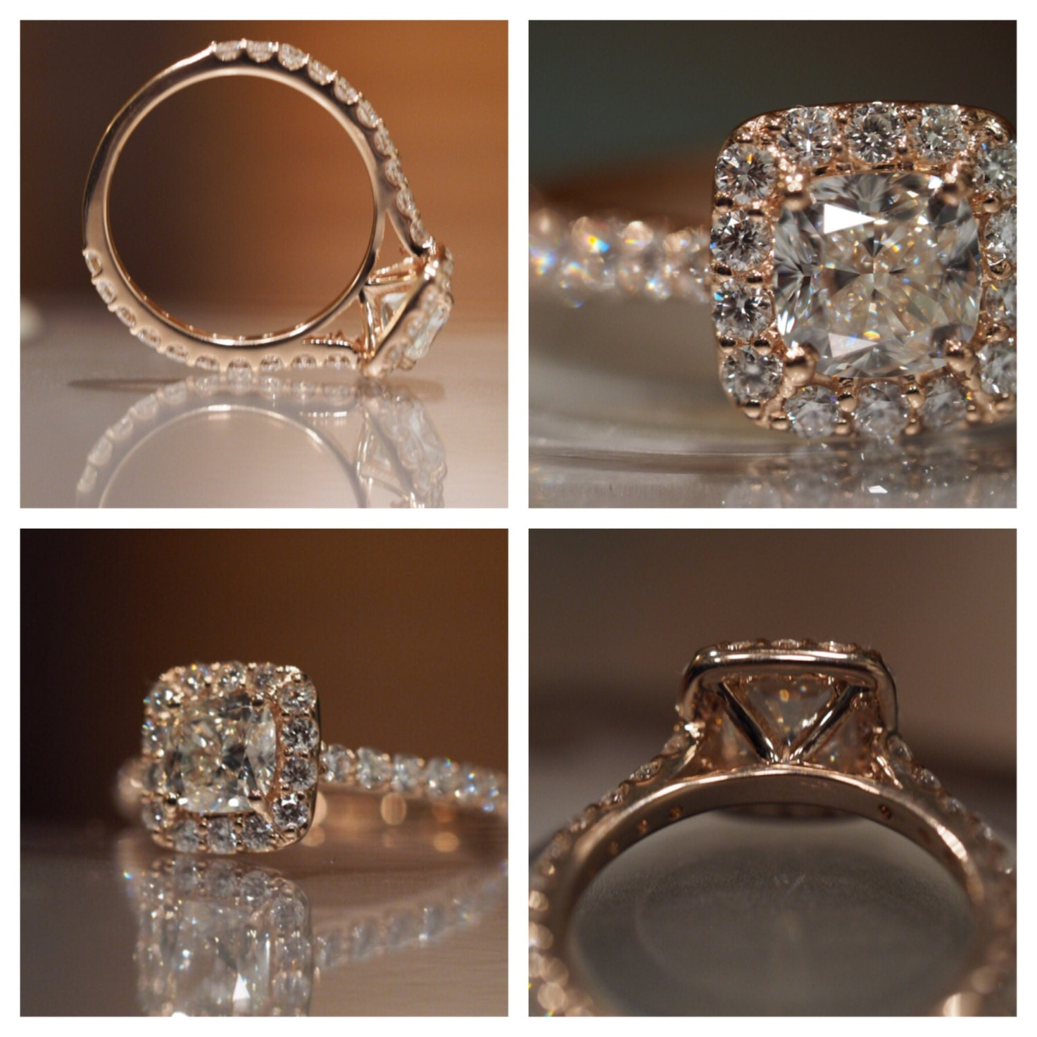 Rose Gold Cushion Cut Engagement Ring with Halo and Micropave