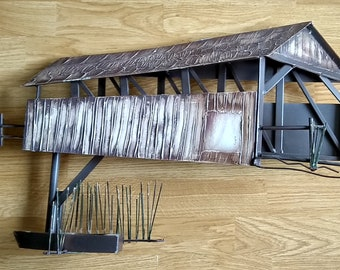 Signed C. Jere 1995 Covered Bridge Metal Wall Sculpture